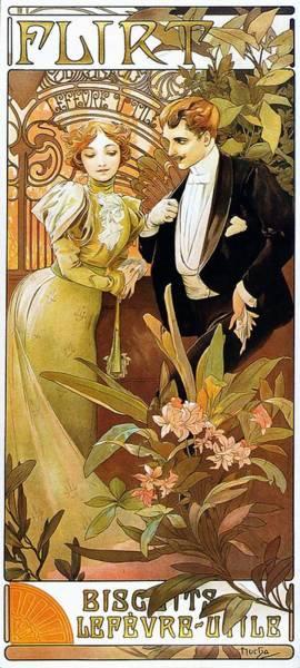 Alfonse Mucha Painting - Flirt by Alphonse Mucha