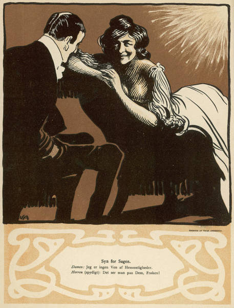 Flirting Drawing - Flirting Couple - She On A by Mary Evans Picture Library