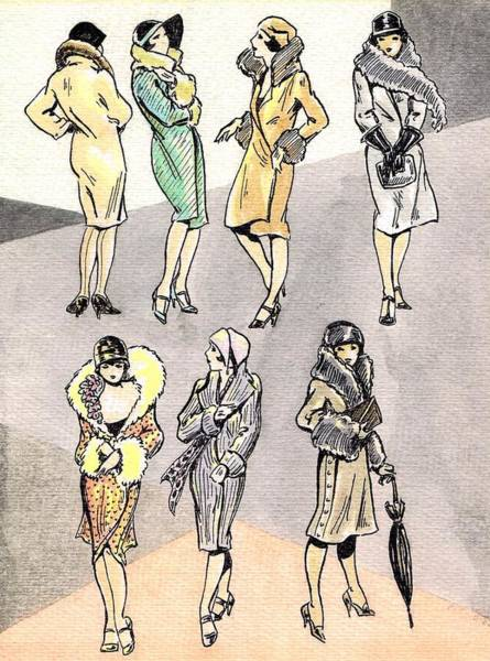 Flappers Drawing - Flirty Flappers by Mel Thompson