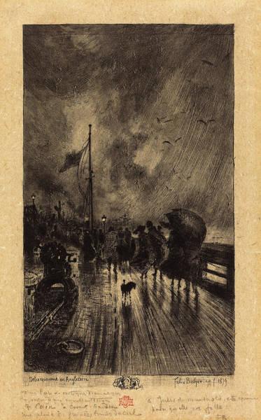 Dust Drawing - Félix-hilaire Buhot French, 1847 - 1898, Un Débarquement by Quint Lox