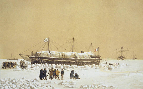 Crew Drawing - Floating Battery La Tonnante In The Ice by A. & Morel-Fatio, A. Bayot