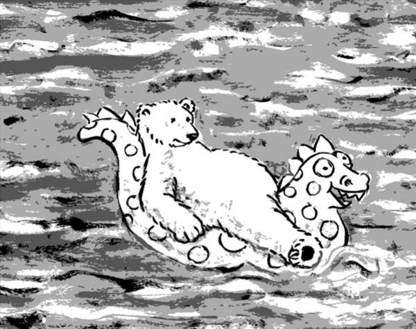 Polar Bear Drawing - Floating Bear Grisaille by Holly Wood