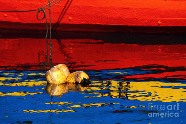 Photograph - Floating Buoys And Reflections by James Brunker