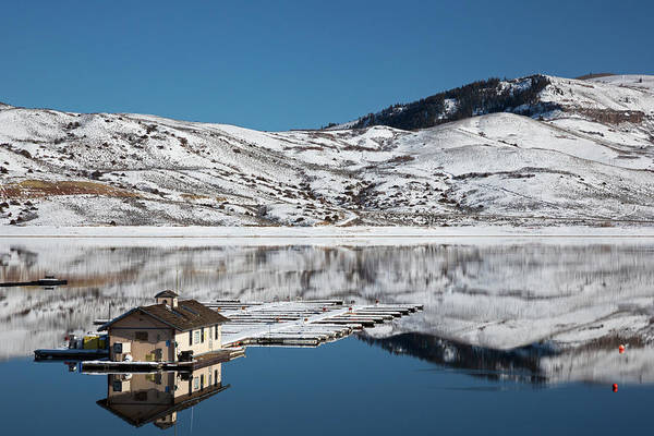 Wintry Photograph - Floating Dock On A Reservoir In Winter by Jim West/science Photo Library