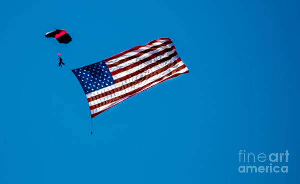 Skydiver Photograph - Floating Flag by Robert Bales