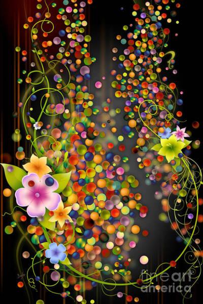 Mystic Digital Art - Floating Fragrances - Black Version by Peter Awax