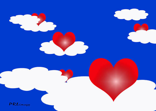 Digital Art - Floating Hearts by Rachel Lowry