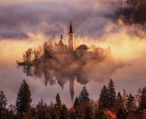 Church Photograph - Floating Island by Ales Krivec