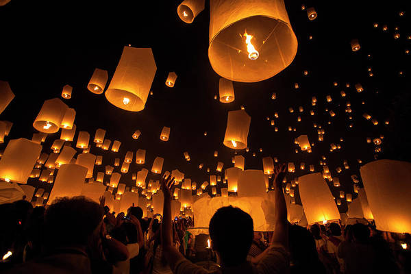 Indigenous People Photograph - Floating Lantern Festival 2012 by Manachai