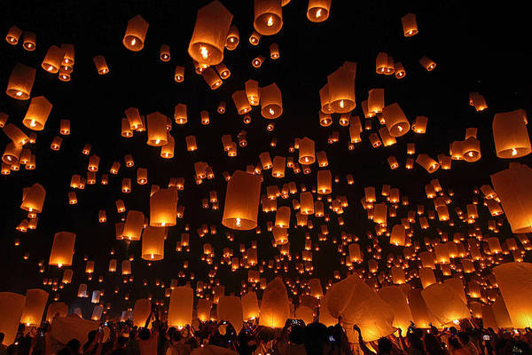 Festival Photograph - Floating Lanterns by Vichaya