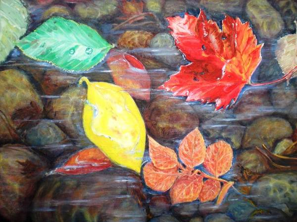 Wall Art - Painting - Floating Leaves by Jennifer Kwon