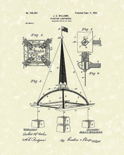 Drawing - Floating Lighthouse 1902 Patent Art by Prior Art Design