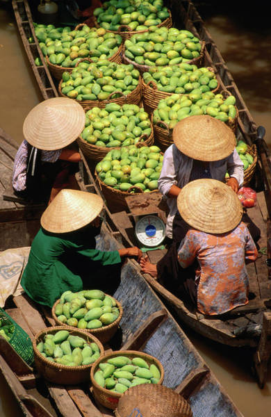 Headwear Photograph - Floating Market Along The Mekong Delta by John W Banagan