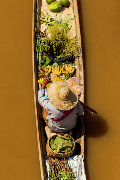 Photograph - Floating Market Canoe With Fruit by Merten Snijders
