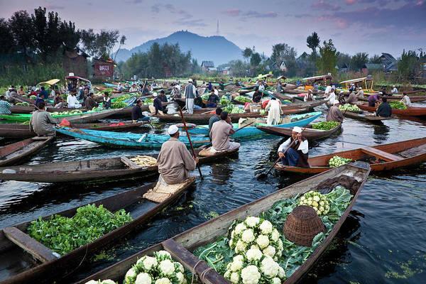 Dal Lake Photograph - Floating Market On Dal Lake by Richard I'anson