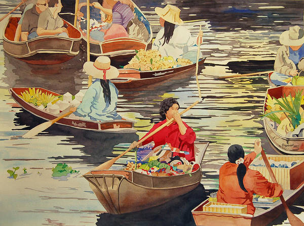 Painting - Floating Market by Terry Holliday