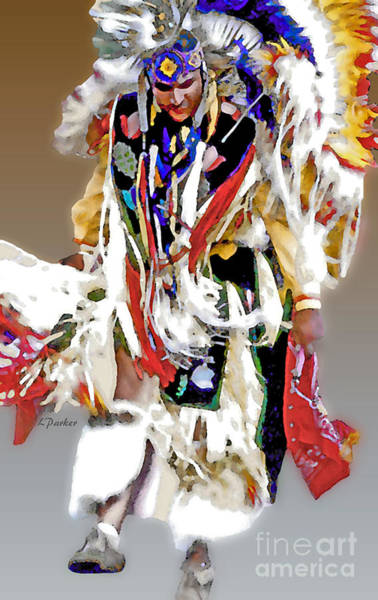 Powwow Wall Art - Photograph - Floating Native Dancer by Linda  Parker