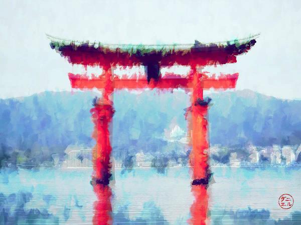 Wall Art - Digital Art - Floating Torii Gate Of Japan by Daniel Hagerman