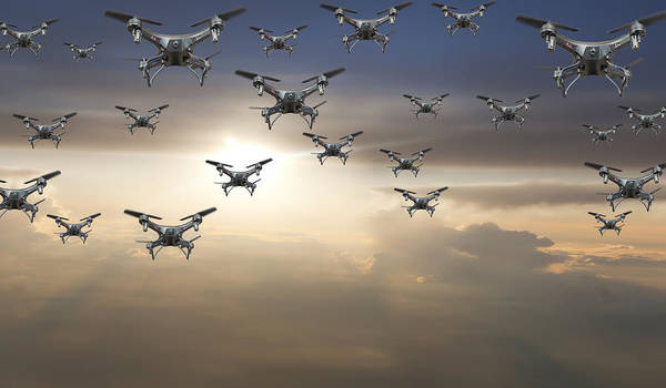 Flock Of Drones In The Sky At Sunset Art Print by Buena Vista Images