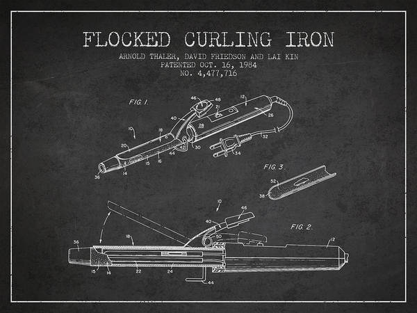 Wall Art - Digital Art - Flocked Curling Iron Patent From 1984 - Charcoal by Aged Pixel
