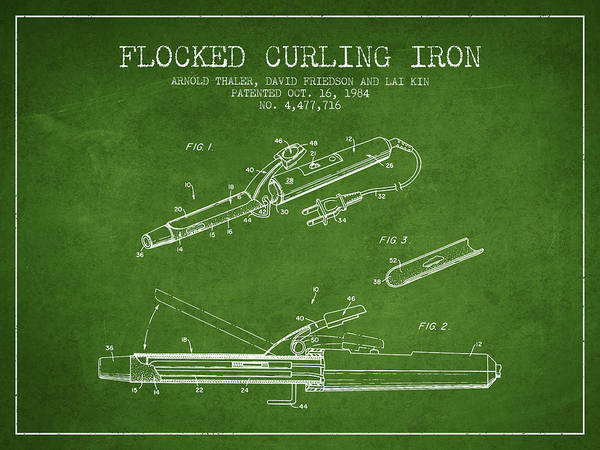 Wall Art - Digital Art - Flocked Curling Iron Patent From 1984 - Green by Aged Pixel