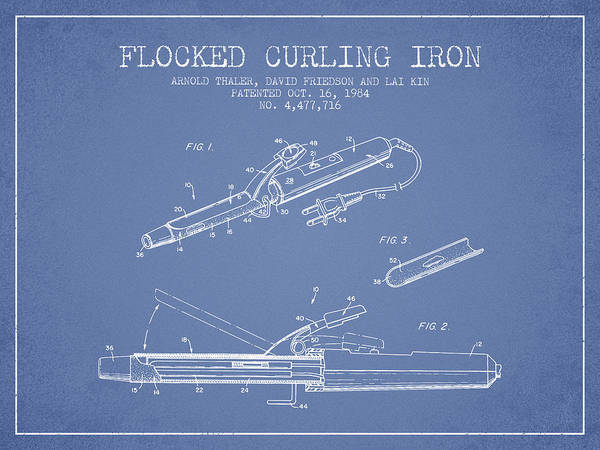 Wall Art - Digital Art - Flocked Curling Iron Patent From 1984 - Light Blue by Aged Pixel