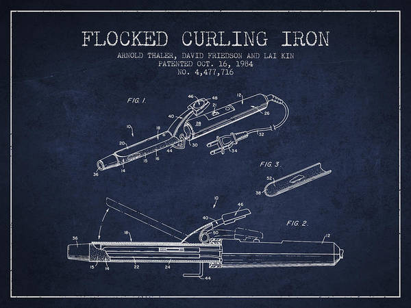 Wall Art - Digital Art - Flocked Curling Iron Patent From 1984 - Navy Blue by Aged Pixel