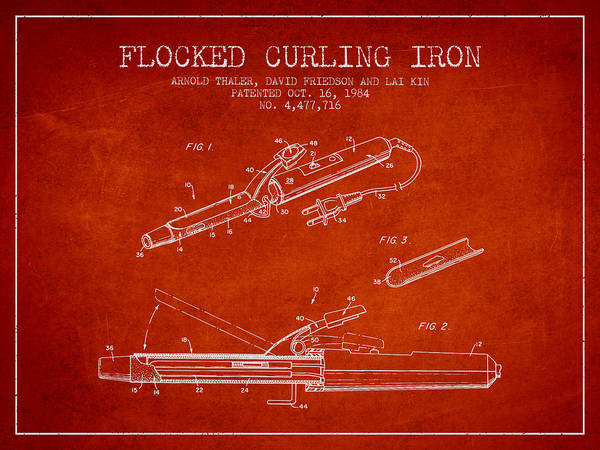 Wall Art - Digital Art - Flocked Curling Iron Patent From 1984 - Red by Aged Pixel