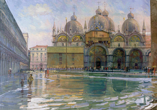 St Mark's Basilica Photograph - Flood Tide, Venice, 1992 Oil On Canvas by Bob Brown