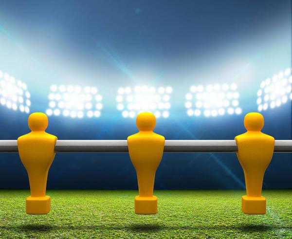 Soccer Stadium Wall Art - Digital Art - Floodlit Stadium With Foosball Players by Allan Swart