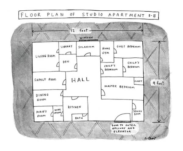 Wine Drawing - Floor Plan Of Studio Apartment R-b by Roz Chast
