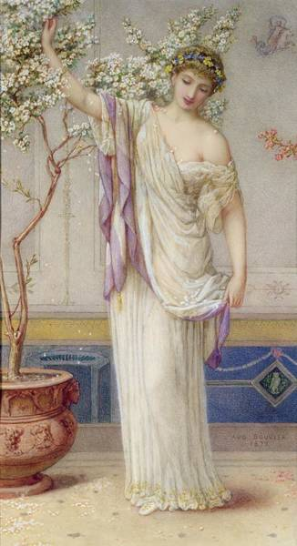 Goddess Drawing - Flora, 1873 by Augustus Jules Bouvier