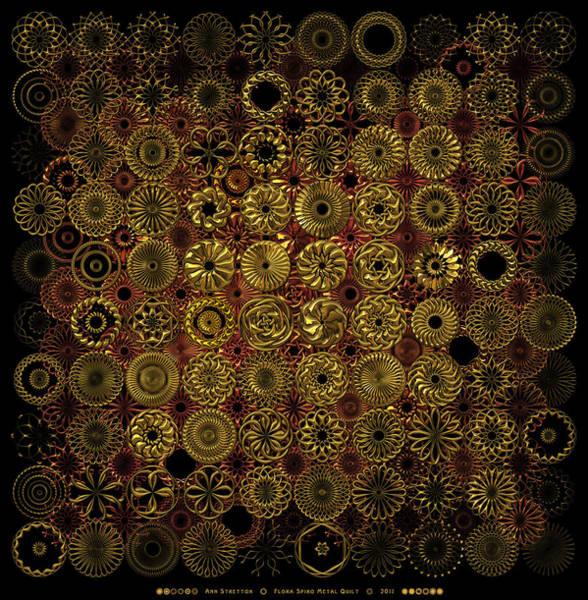 Flora Spiro Metal Quilt Art Print