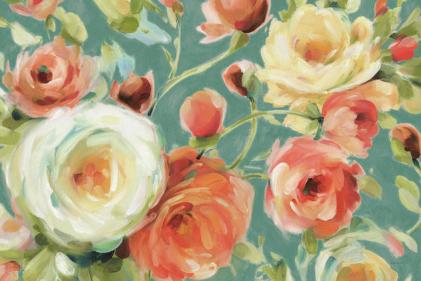 Wall Art - Painting - Florabundance I Autumn Teal by Lisa Audit