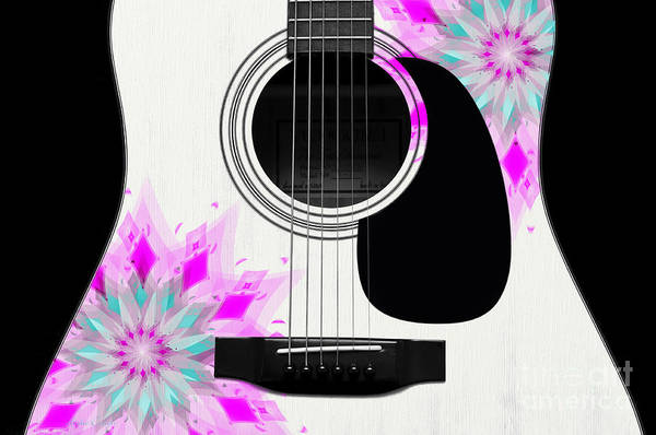 Digital Art - Floral Abstract Guitar 1 by Andee Design