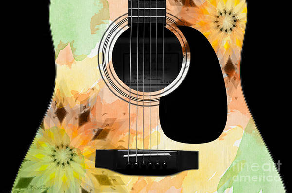 Digital Art - Floral Abstract Guitar 14 by Andee Design