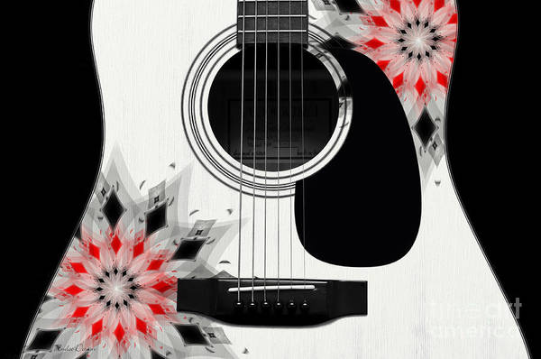 Digital Art - Floral Abstract Guitar 2 by Andee Design