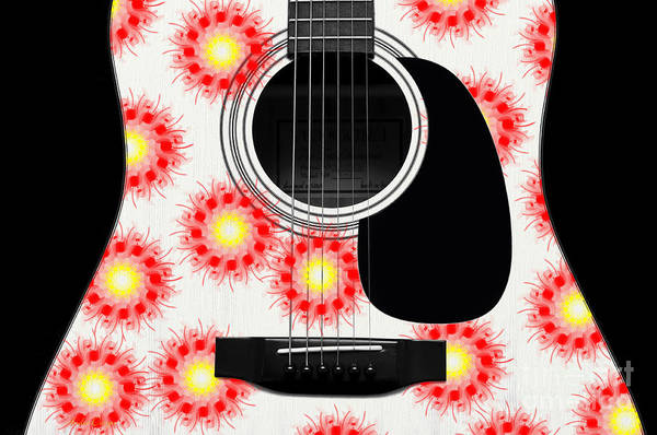 Digital Art - Floral Abstract Guitar 21 by Andee Design