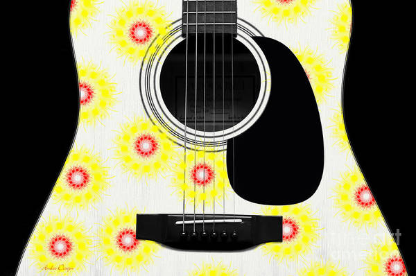 Digital Art - Floral Abstract Guitar 22 by Andee Design