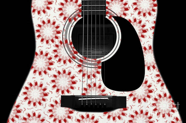 Digital Art - Floral Abstract Guitar 24 by Andee Design