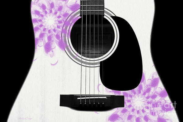 Digital Art - Floral Abstract Guitar 26 by Andee Design