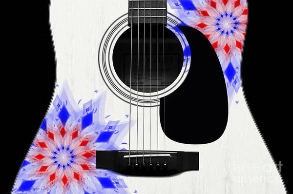 Digital Art - Floral Abstract Guitar 4 by Andee Design