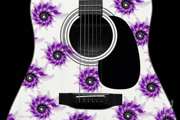 Digital Art - Floral Abstract Guitar 7 by Andee Design