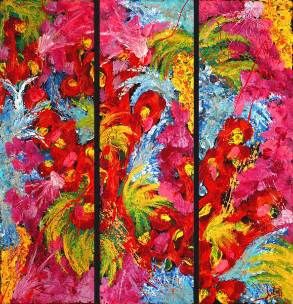 Floral Abstract Triptych On Black Background Art Print