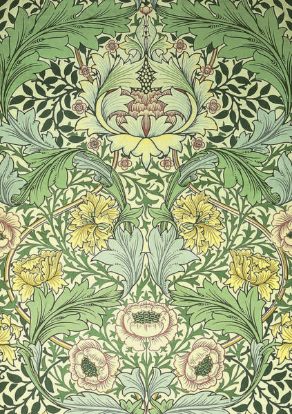 Tapestries Textiles Wall Art - Digital Art - Floral And Foliage Design by William Morris