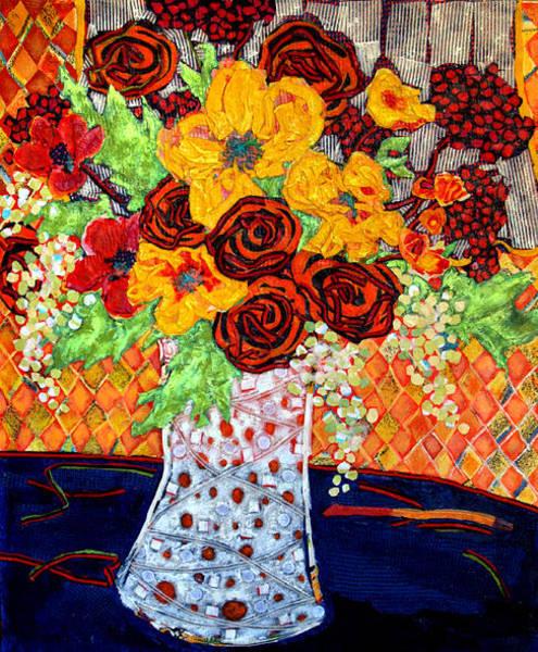Wallpaper Mixed Media - Floral Arrangement by Diane Fine