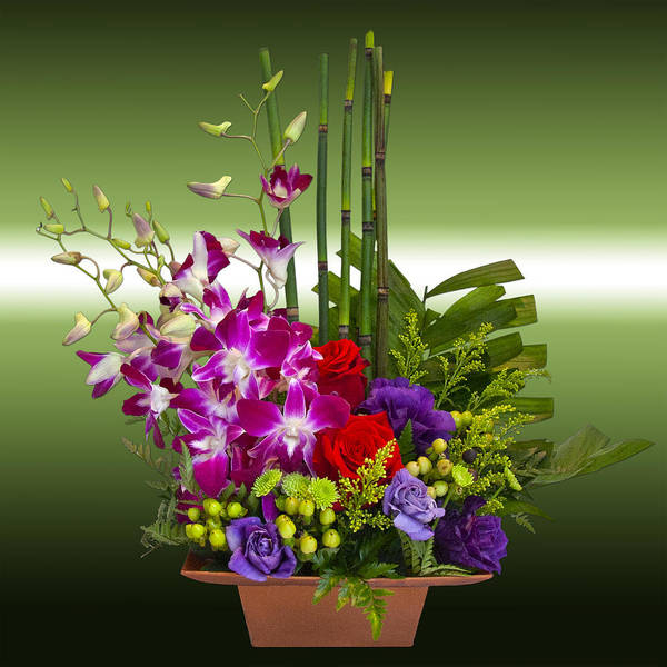 Photograph - Floral Arrangement - Green by Chuck Staley