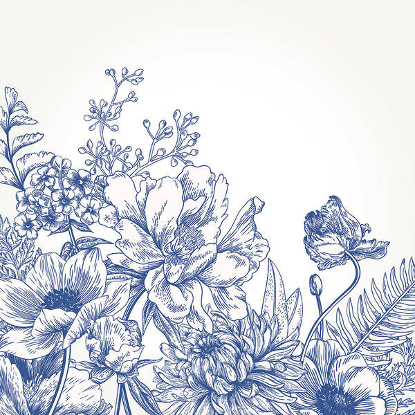 Etching Wall Art - Digital Art - Floral Background With Flowers by Nata slavetskaya