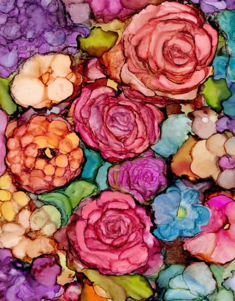 Alcohol Ink Photograph - Floral Blanket by Liz Evensen