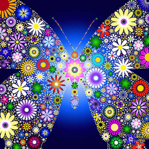 Digital Art - Floral Butterfly by Tim Gainey